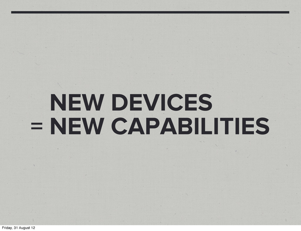 NEW DEVICES = NEW CAPABILITIES Friday, 31 Augus...