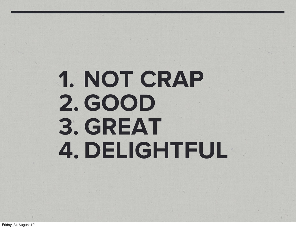 1. NOT CRAP 2. GOOD 3. GREAT 4. DELIGHTFUL Frid...