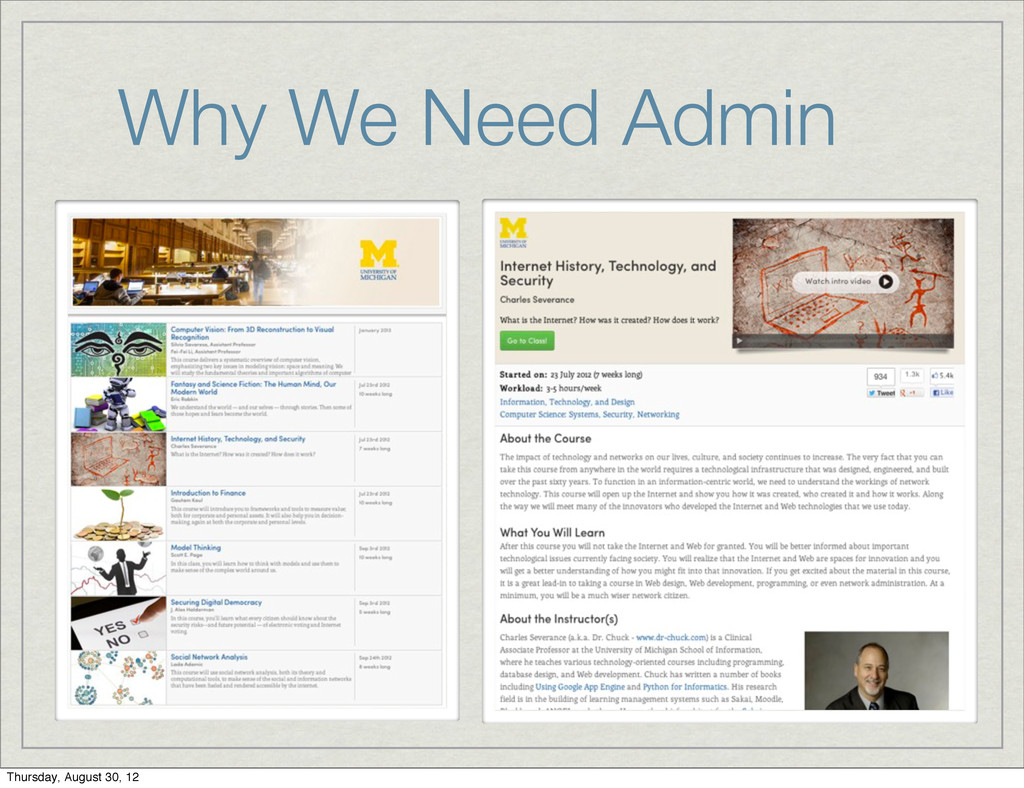 Why We Need Admin Thursday, August 30, 12