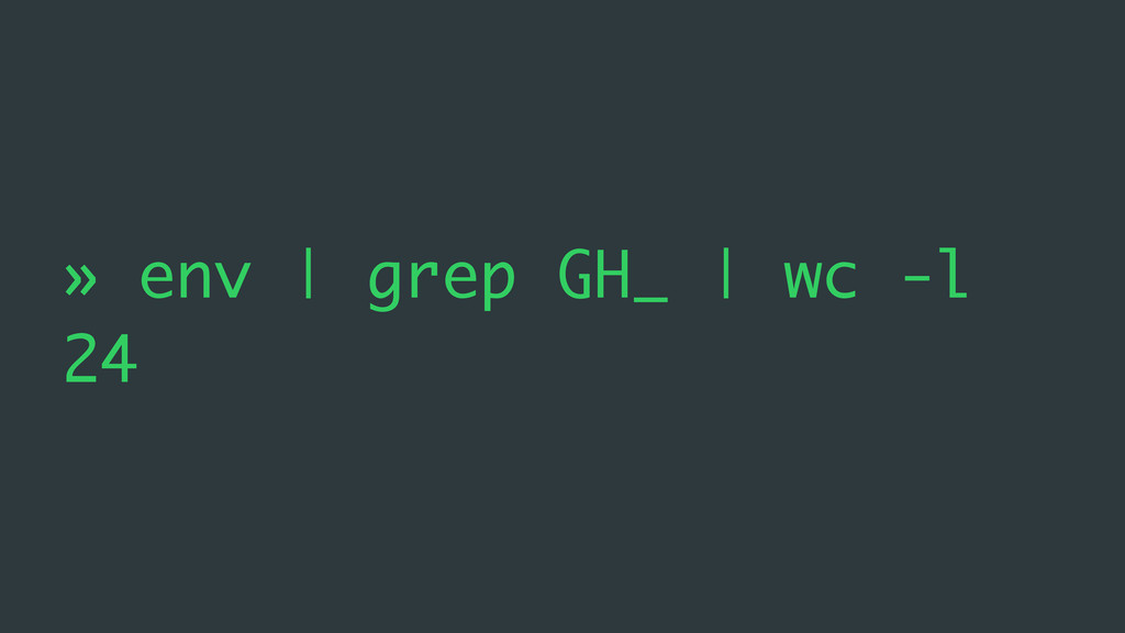 » env | grep GH_ | wc -l 24