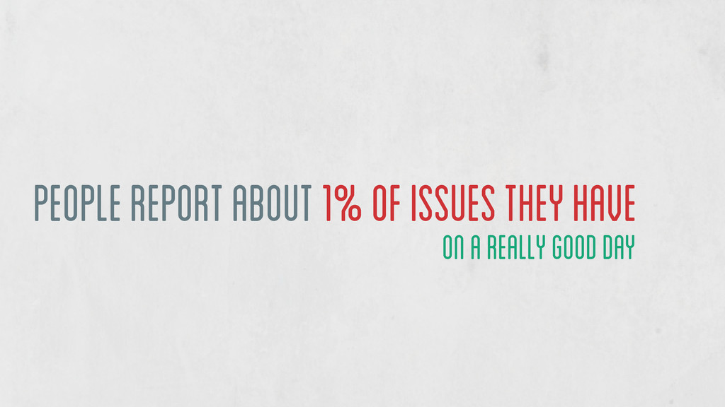 people report about 1% of issues they have on a...