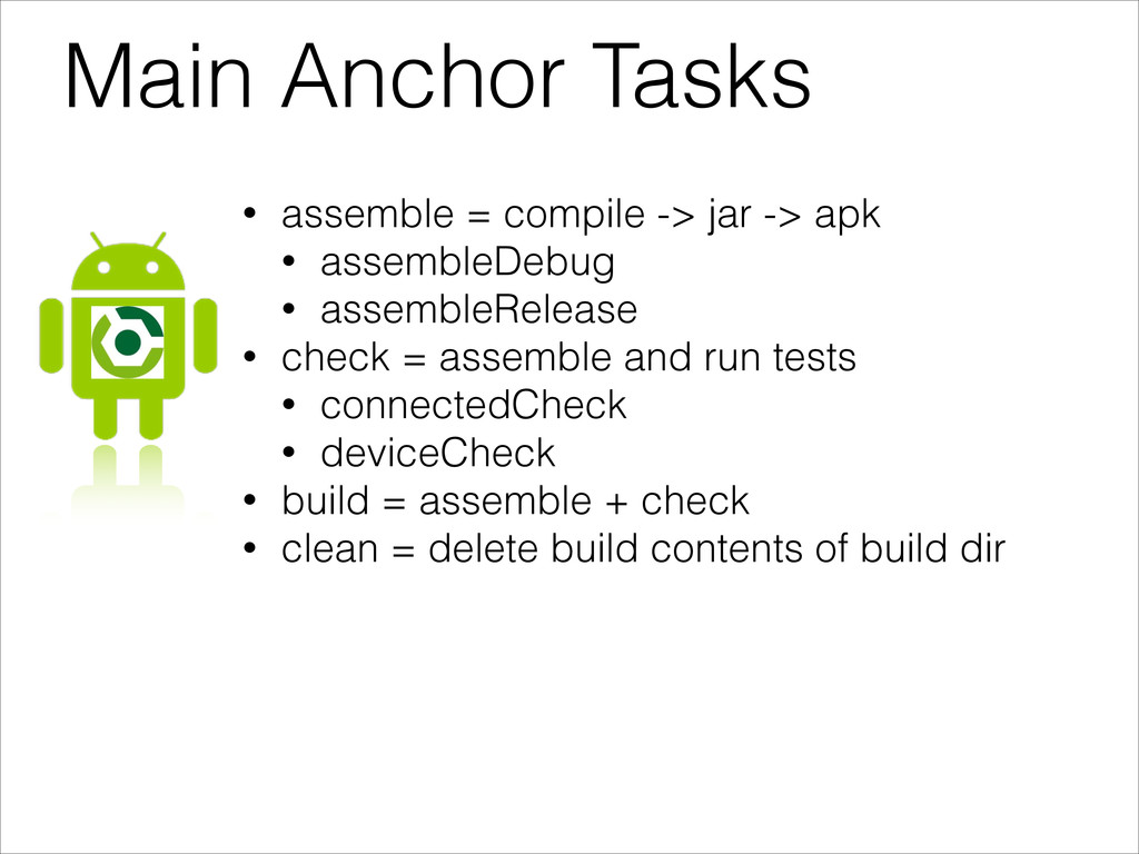 Main Anchor Tasks • assemble = compile -> jar -...