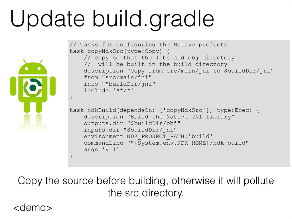 Update build.gradle <demo> // Tasks for configu...
