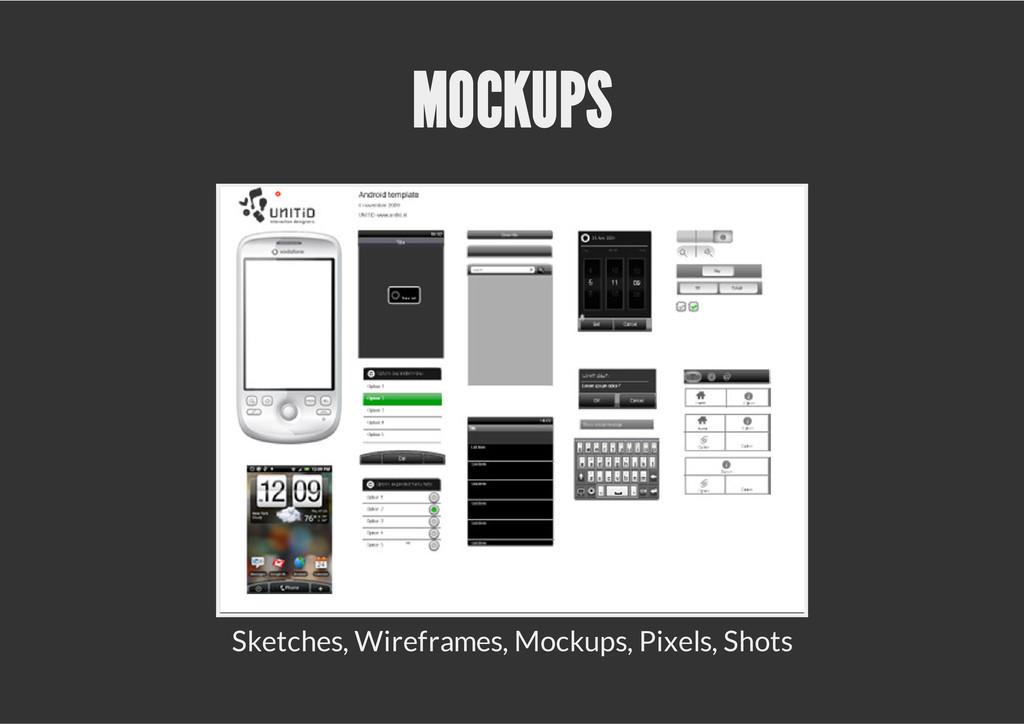 MOCKUPS Sketches, Wireframes, Mockups, Pixels, ...