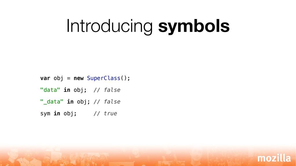 Introducing symbols var obj = new SuperClass();...