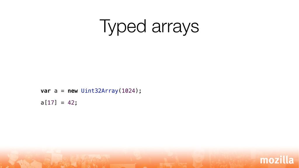 Typed arrays var a = new Uint32Array(1024); a[1...