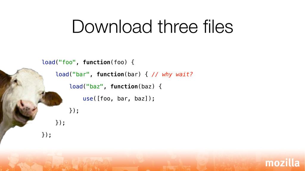 "Download three files load(""foo"", function(foo) {..."