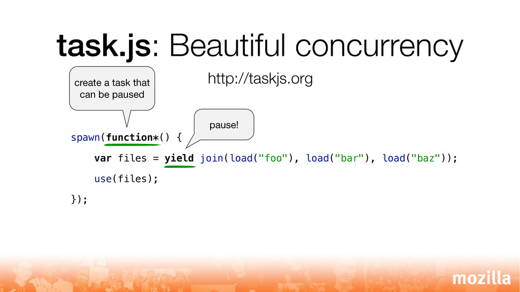 task.js: Beautiful concurrency spawn(function*(...