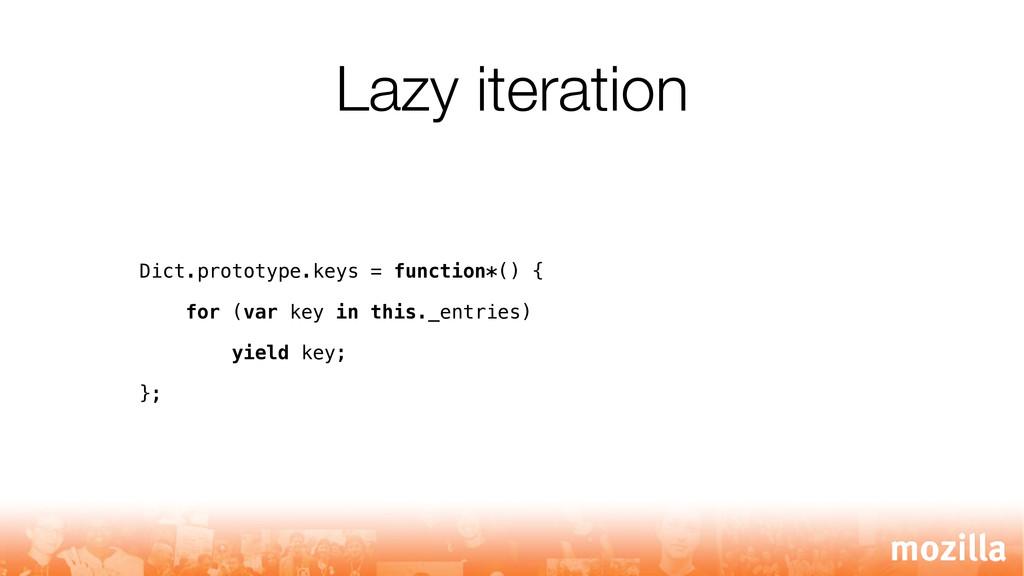 Lazy iteration Dict.prototype.keys = function*(...