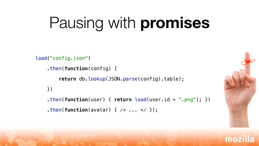 """Pausing with promises load(""""config.json"""") .then..."""