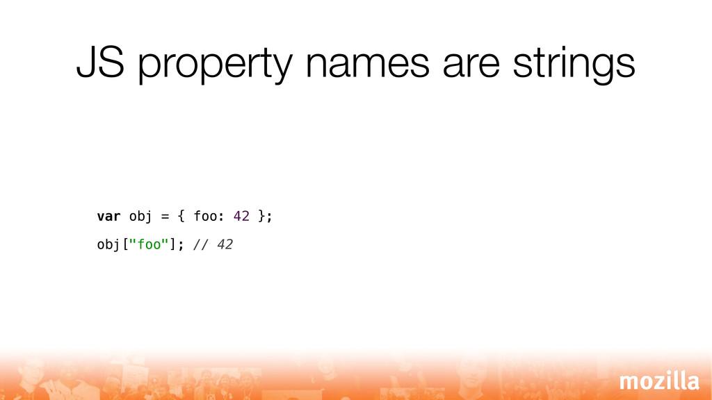 JS property names are strings var obj = { foo: ...