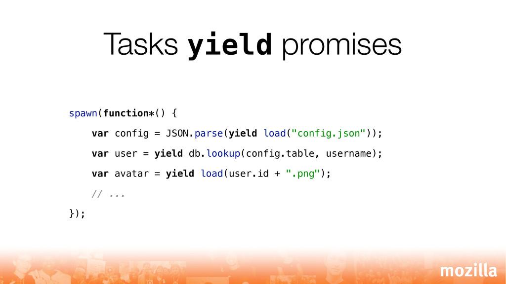 Tasks yield promises spawn(function*() { var co...