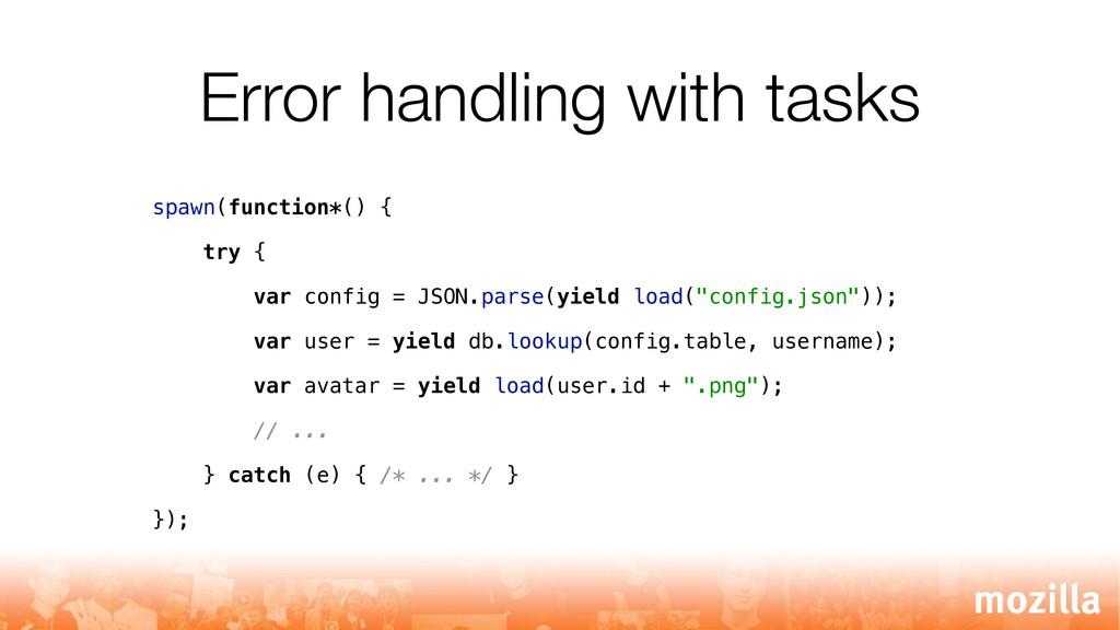 Error handling with tasks spawn(function*() { t...