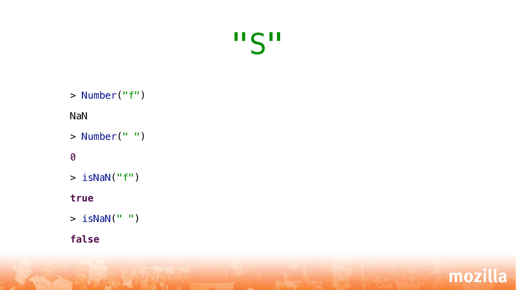 "> Number(""f"") NaN > Number("" "") 0 > isNaN(""f"") ..."