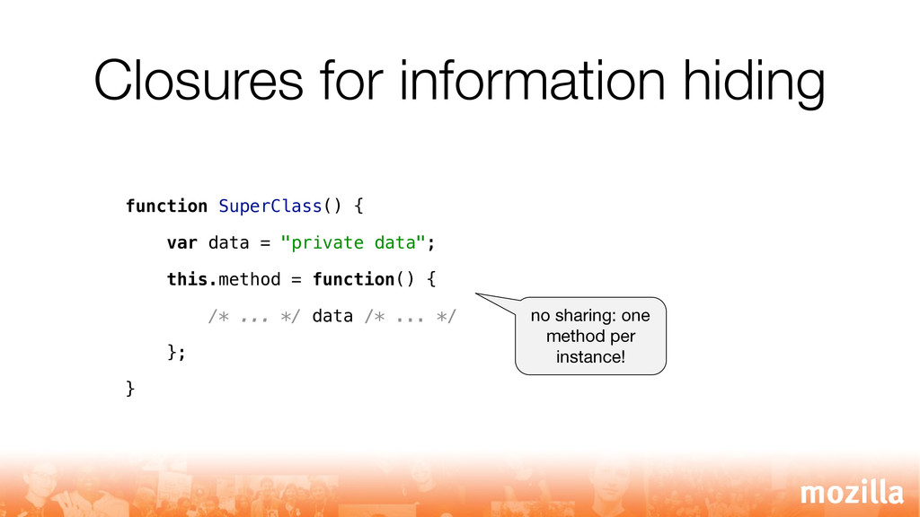 Closures for information hiding function SuperC...