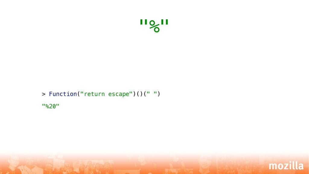 """> Function(""""return escape"""")()("""" """") """"%20"""" """"%"""""""