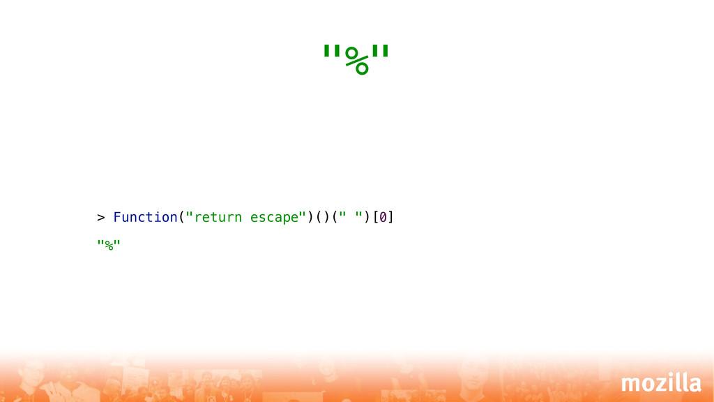 """> Function(""""return escape"""")()("""" """")[0] """"%"""" """"%"""""""