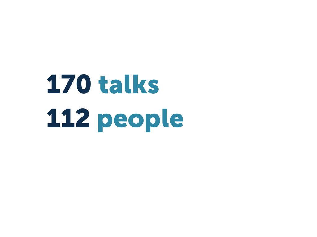 170 talks 112 people