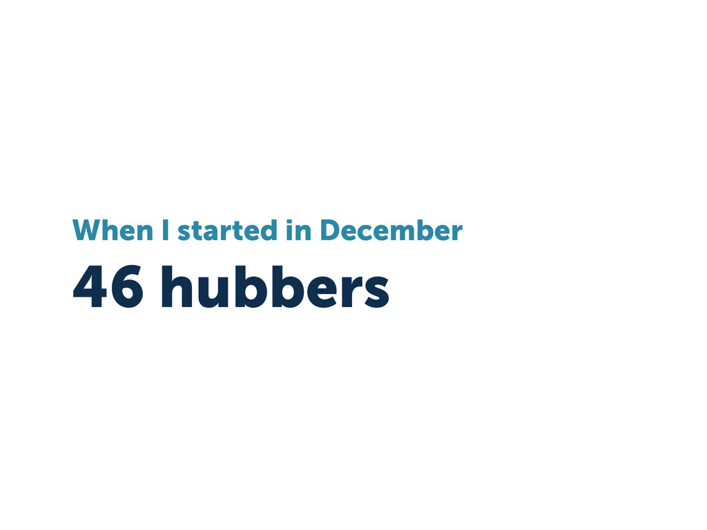 46 hubbers When I started in December