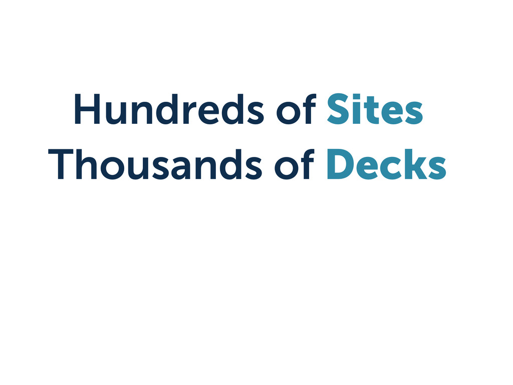 Hundreds of Sites Thousands of Decks