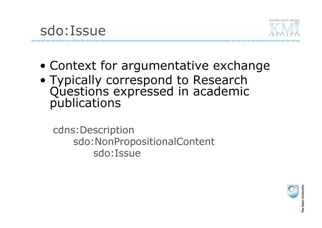 sdo:Issue • Context for argumentative exchange...