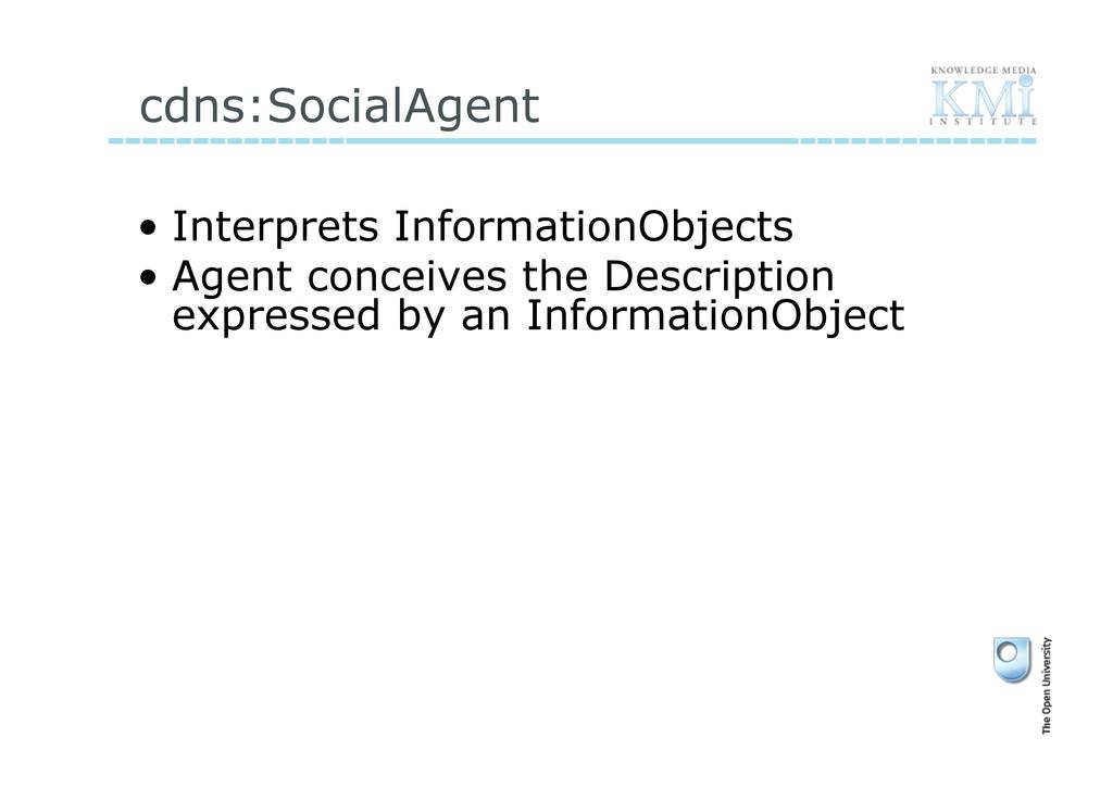 cdns:SocialAgent • Interprets InformationObjec...