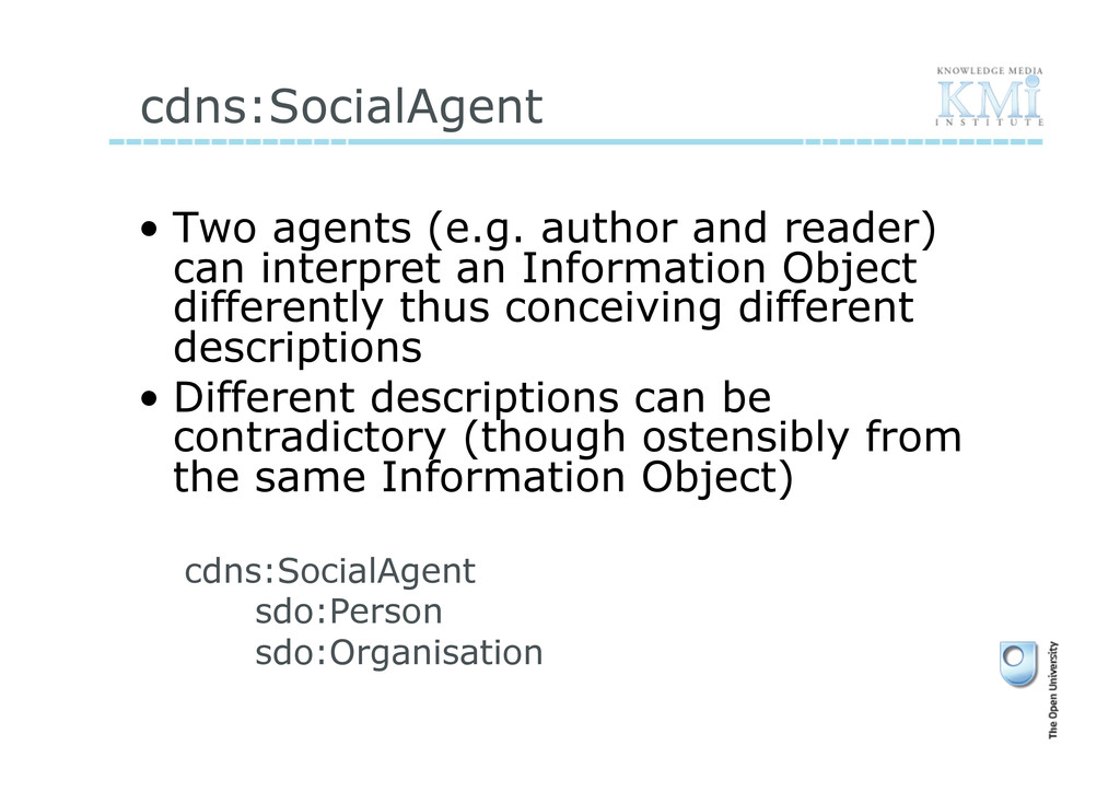 cdns:SocialAgent • Two agents (e.g. author and...