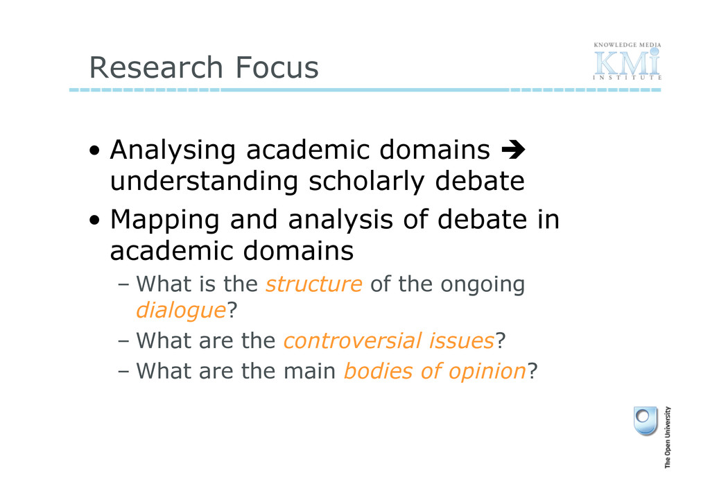 Research Focus • Analysing academic domains  ...