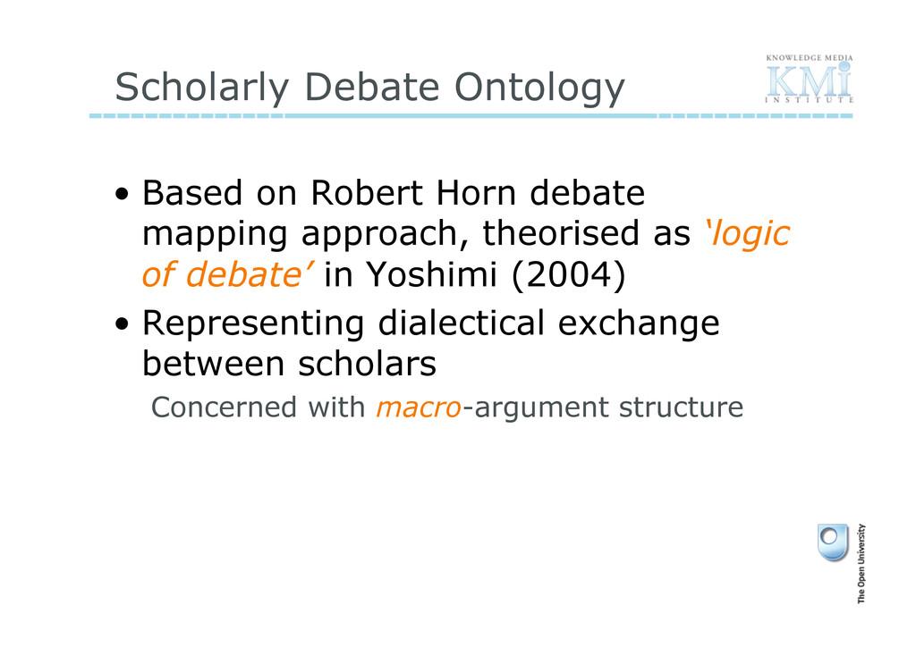 Scholarly Debate Ontology • Based on Robert Ho...