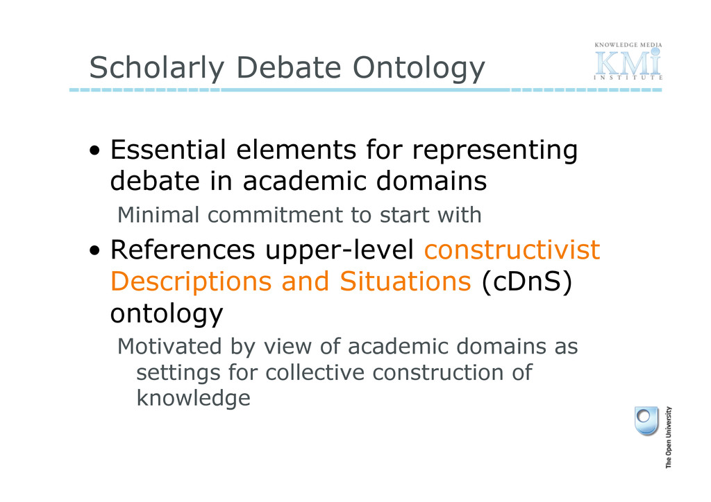 Scholarly Debate Ontology • Essential elements...