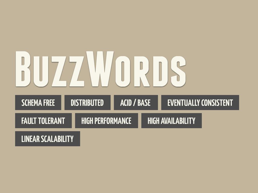 BuzzWords SCHEMA FREE DISTRIBUTED ACID / BASE E...