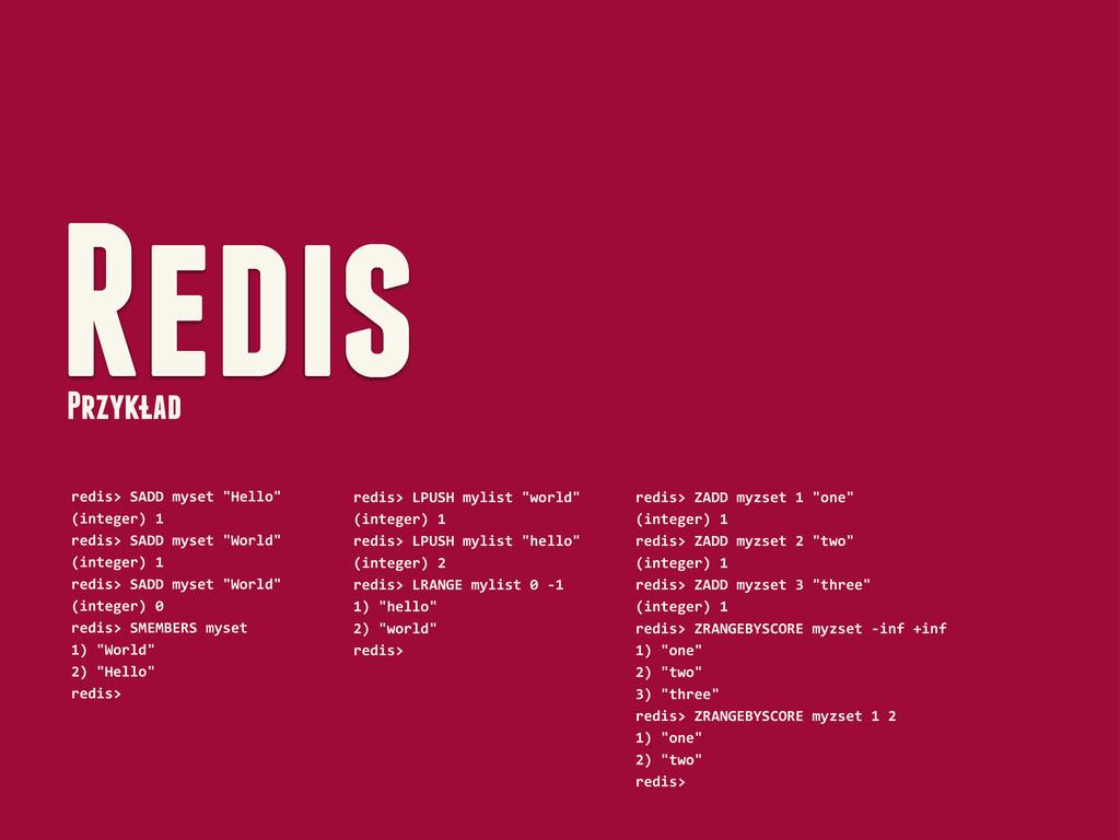 "Redis Przyklad redis> SADD myset ""Hell..."