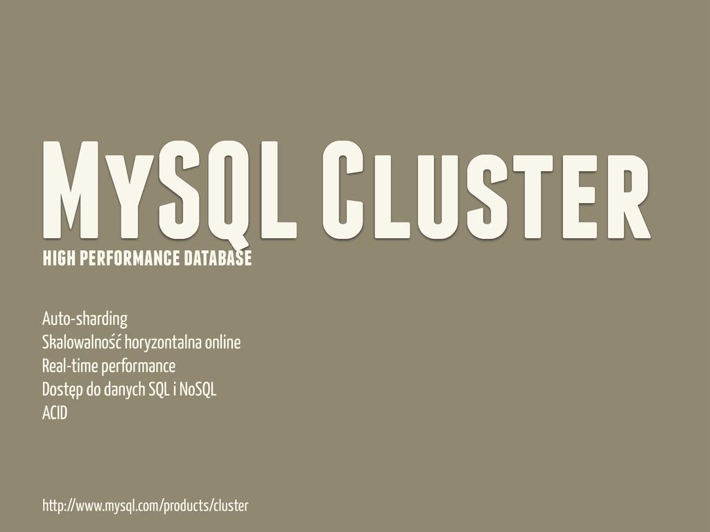 MySQL Cluster high performance database Auto-sh...