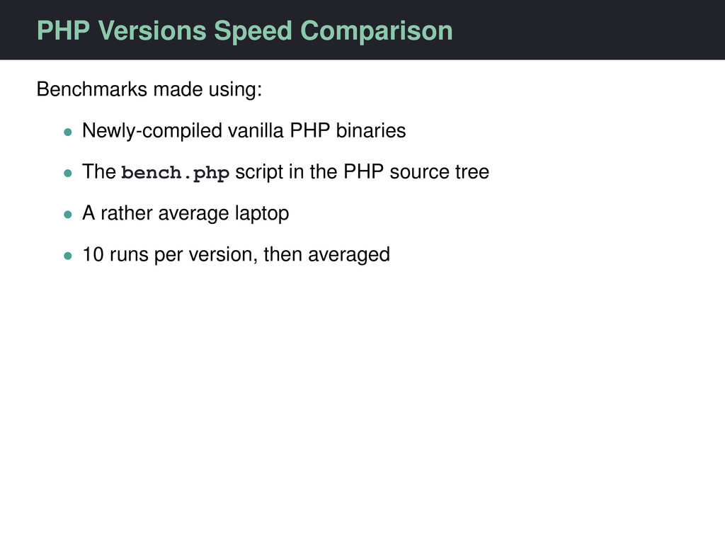 PHP Versions Speed Comparison Benchmarks made u...