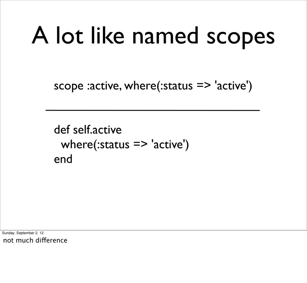 A lot like named scopes scope :active, where(:s...