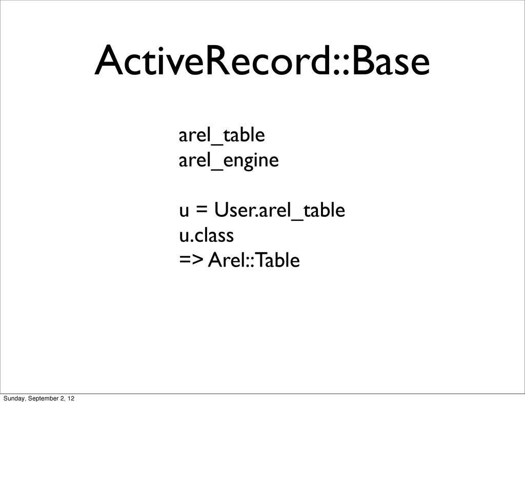 ActiveRecord::Base arel_table arel_engine u = U...