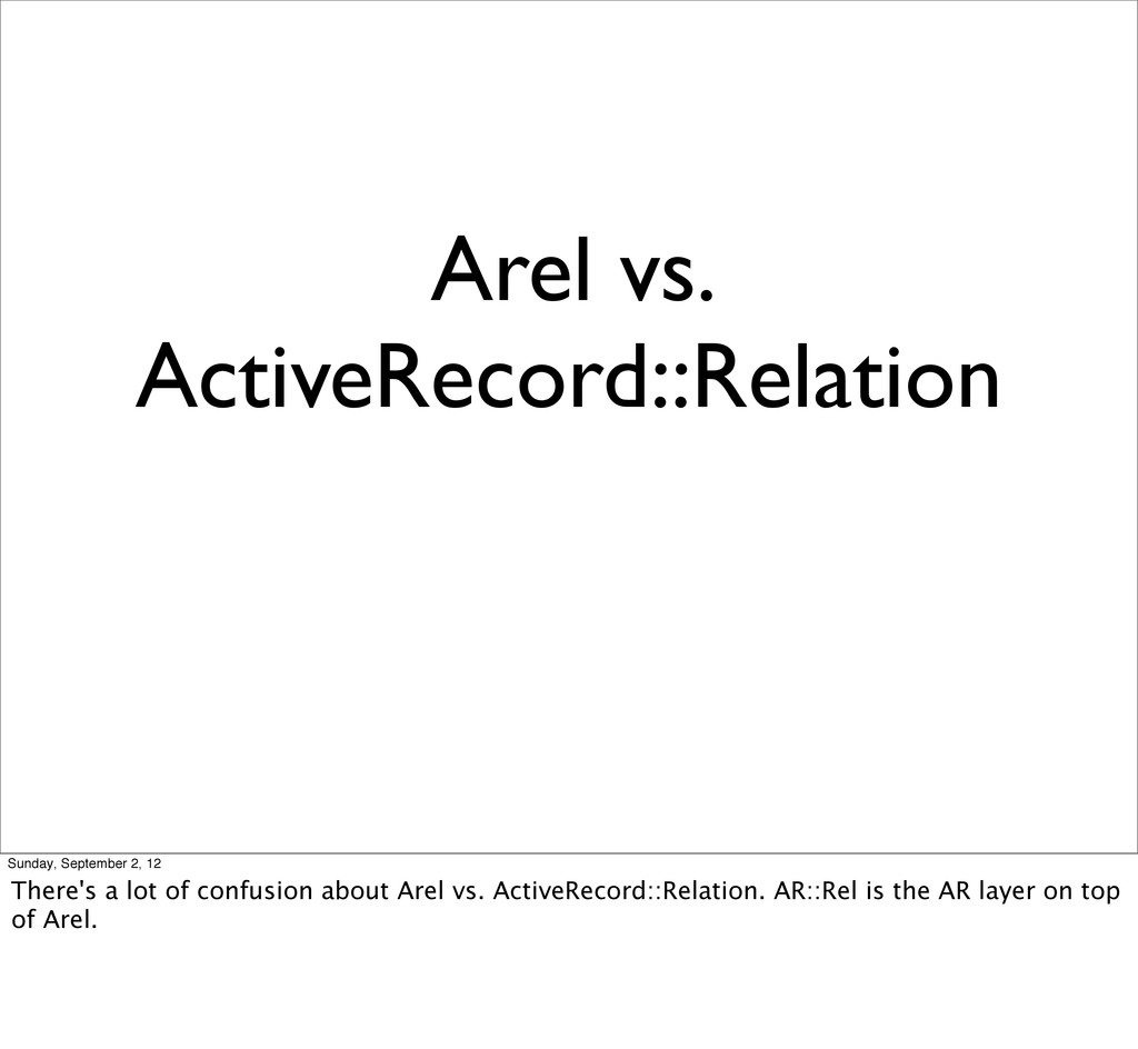 Arel vs. ActiveRecord::Relation Sunday, Septemb...