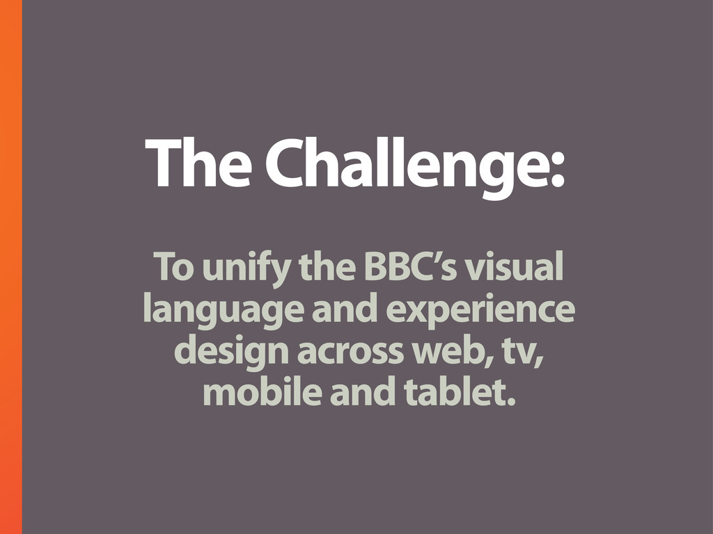 The Challenge: To unify the BBC's visual langua...