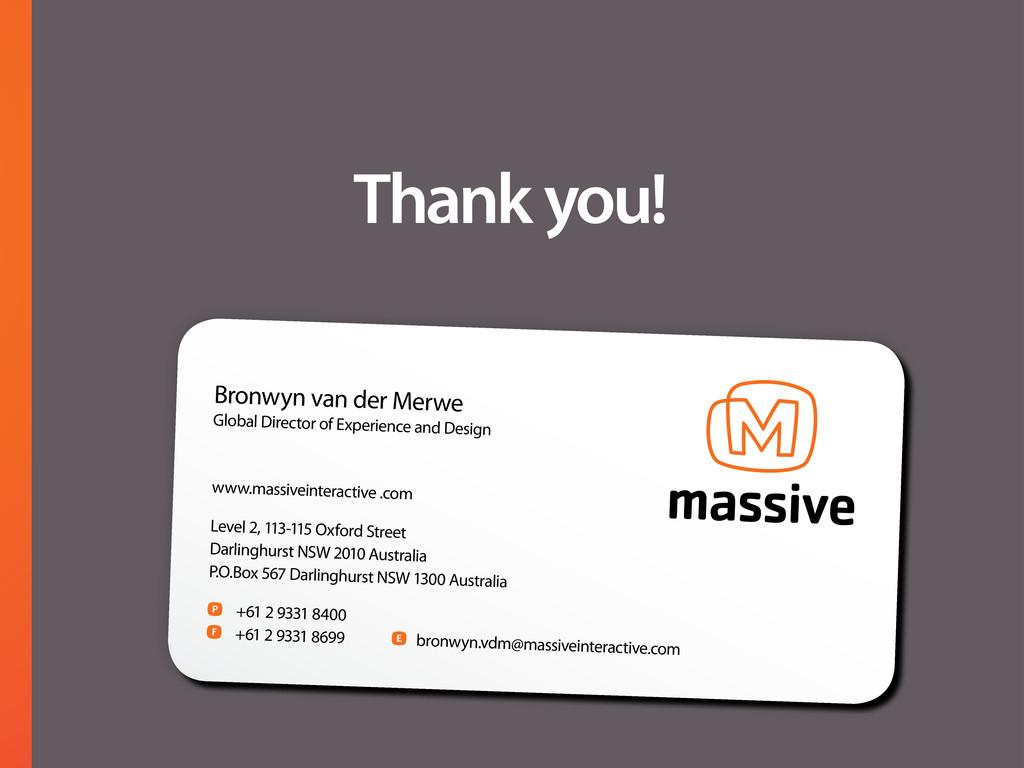 Thank you! Bronwyn van der Merwe Global Directo...