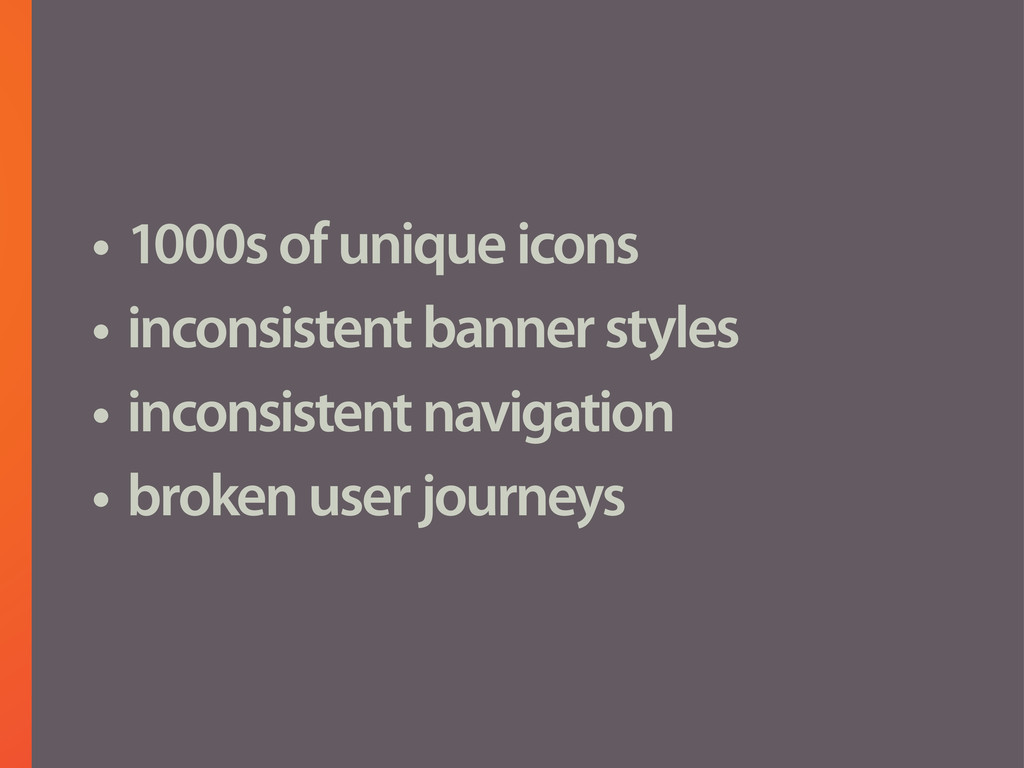 • 1000s of unique icons • inconsistent banner s...
