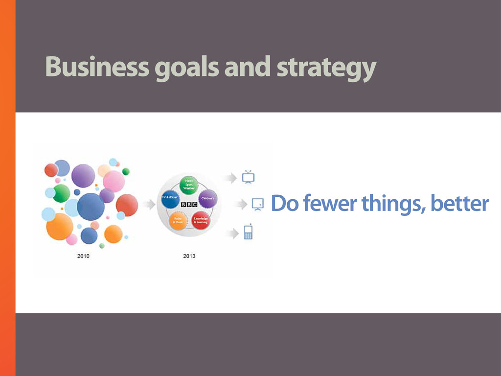 Business goals and strategy Do fewer things, be...