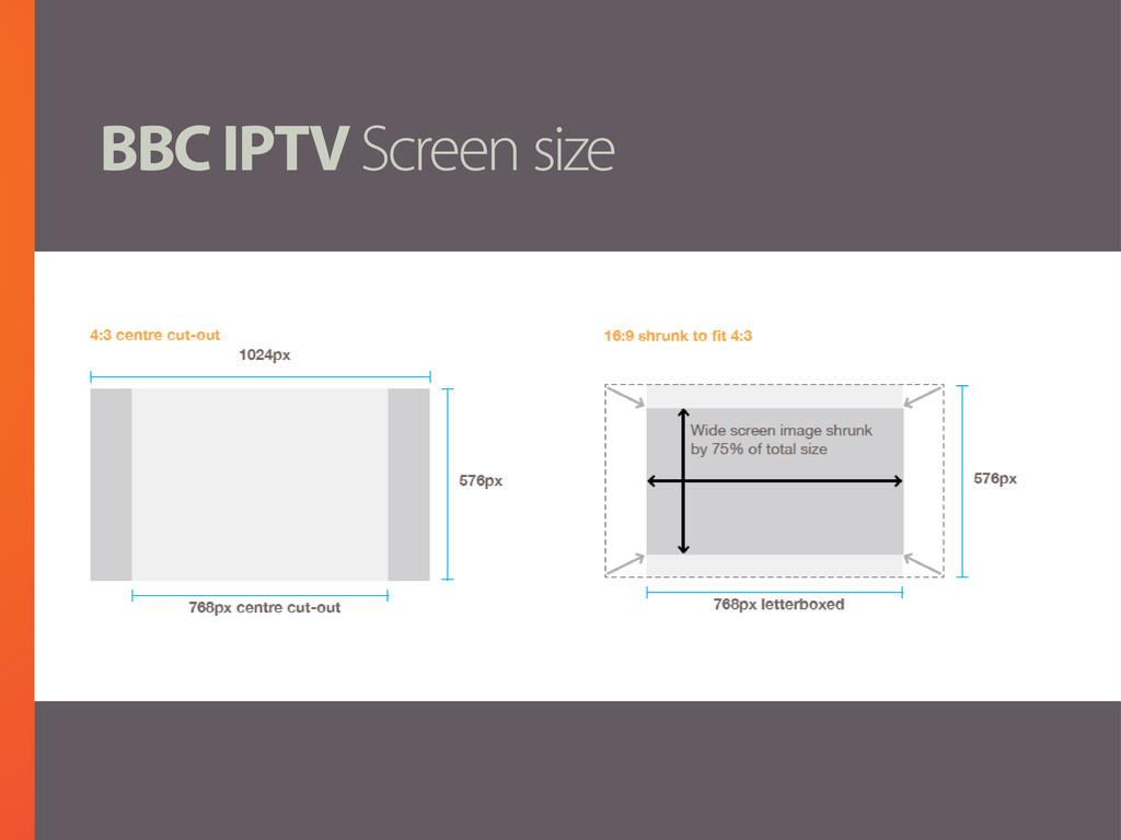 BBC IPTV Screen size