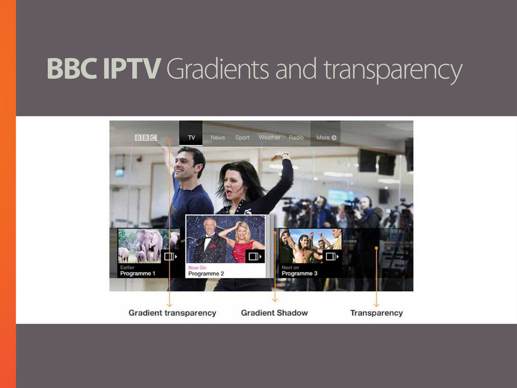 BBC IPTV Gradients and transparency