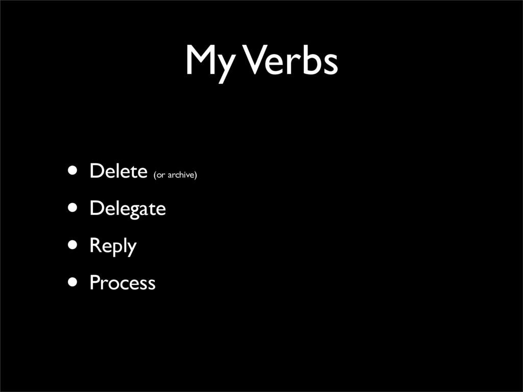 My Verbs • Delete (or archive) • Delegate • Rep...