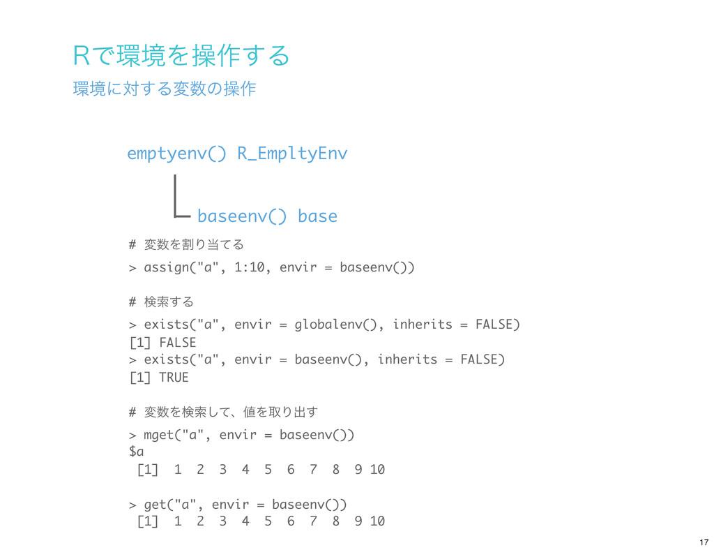 baseenv() base emptyenv() R_EmpltyEnv 3ͰڥΛૢ࡞͢Δ...