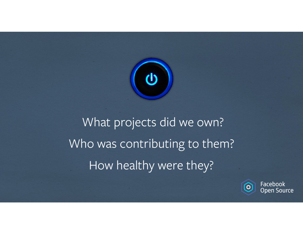 What projects did we own? Who was contributing ...