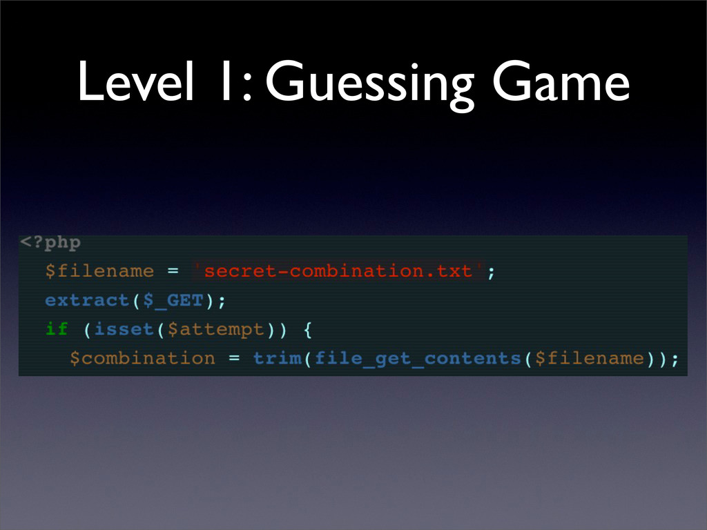 Level 1: Guessing Game