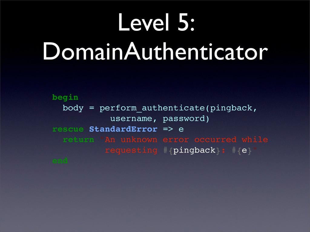 Level 5: DomainAuthenticator begin body = perfo...