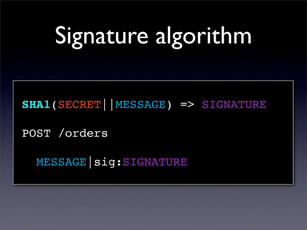 Signature algorithm SHA1(SECRET||MESSAGE) => SI...
