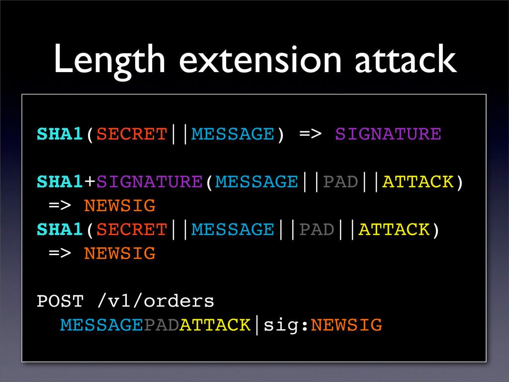 Length extension attack SHA1(SECRET||MESSAGE) =...